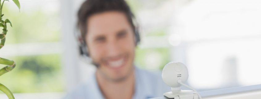 videoconferencing webcam man smiling